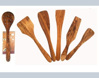 6 olive wood spatula set