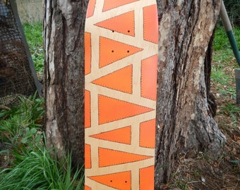 Hand Painted Orange Skateboard deck