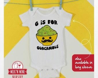 G is for Guacamole Baby Alphabet , One piece, bodysuit, romper, under shirt