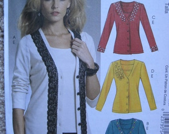 UNCUT Misses Cardigans and Top - Size XSmall, Small, Medium - McCalls Pattern M5978