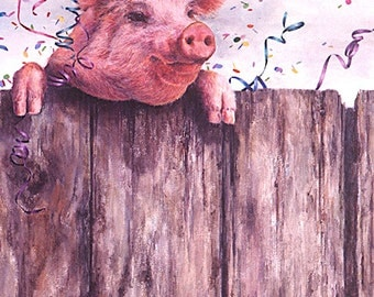 Birthday Cards, Greeting Cards, Blank Cards, Child's Birthday Card, Pig, Pig Birthday Card, Pig Party Card, Animal Card