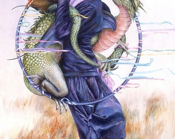 Greeting Card, Blank Card with Woman and Dragon, Spiritual Card, Metaphysical Card,Accidental Harmonies