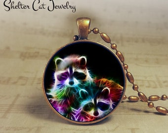"Raccoon Necklace - 1-1/4"" Circle Pendant or Key Ring - Handmade Wearable Photo Art Jewelry - Nature Art - Raccoons in Fractals - Gift"