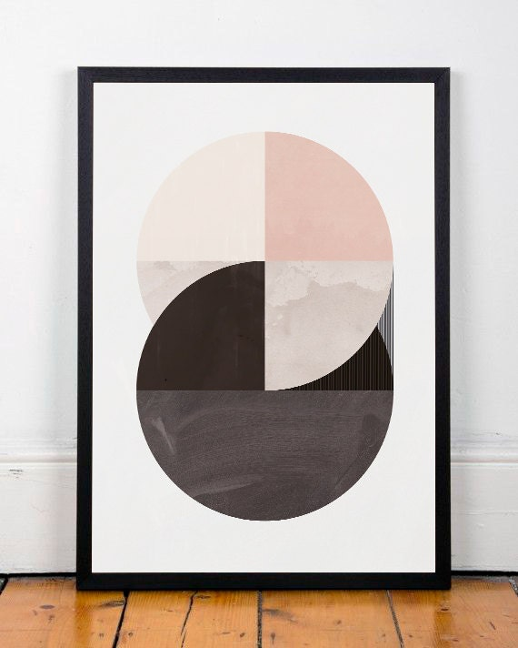 Abstract wall art geometric wall print modern by for Minimalist wall decor ideas