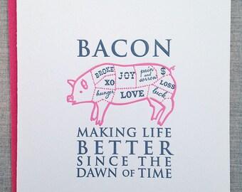 Letterpress Notecards: Bacon!