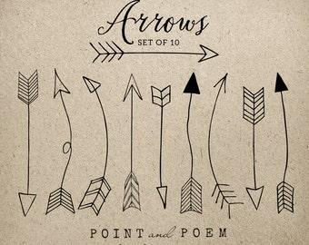 "SALE 50% Arrows clip art: ""Hand Drawn Arrows"" black and white, tribal archery,chalkboard, wedding invitation,scrapbooking, doodle"