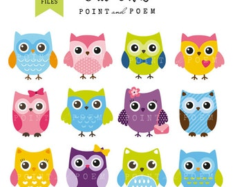 Owl Clip Art, owl clipart, cute, sweet, whimsical, pink, purple, green, blue, color owl - Commercial Use
