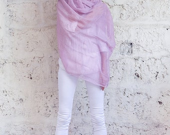 Dusty Pink Silk Wool Scarf, Soft And Thin Shawl Wrap Scarf, Long Scarf, Pink Scarf HSC00007