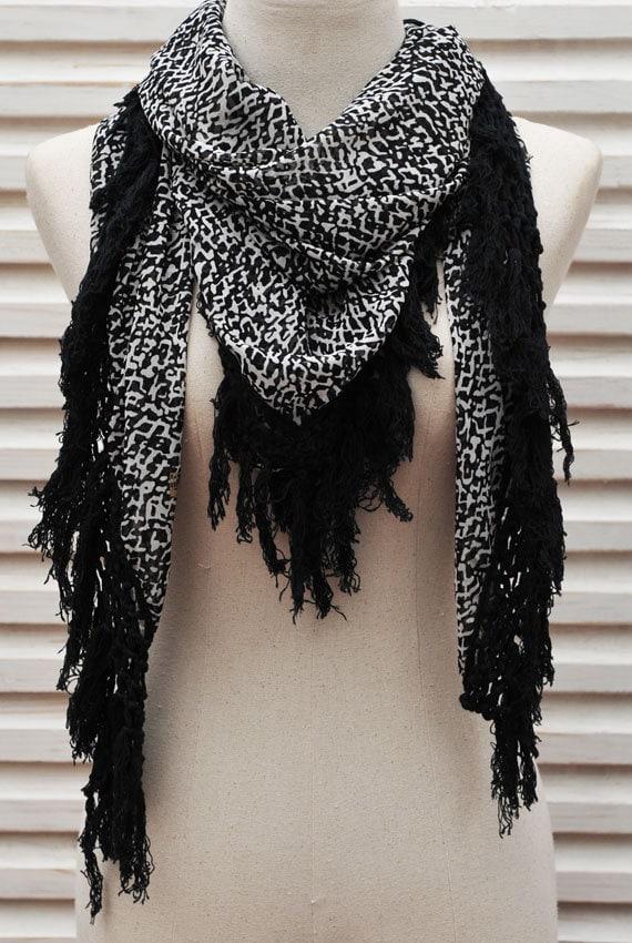 sale black white scarf large square chiffon scarf