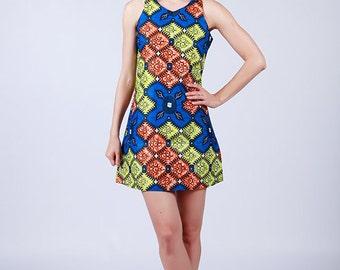 Dress, Aline Dress, Blue Printed A Line Short Dress, African Print Dress, Tribal Print Dress