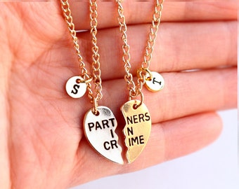 PARTNERS IN CRIME necklace, initials friendship necklace set, best friends, best bitches, broken heart set, sisters gift jwelry