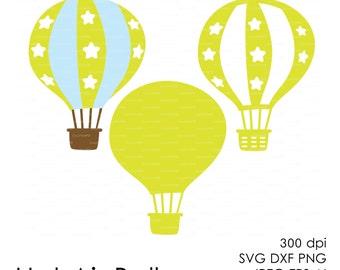 Hot Air Balloon Aerostat 300 dpi (svg, dxf, jpg, ai, eps, png) vector Clip Art Cutting file, cut Silhouette Cameo template EasyCutPrintPD