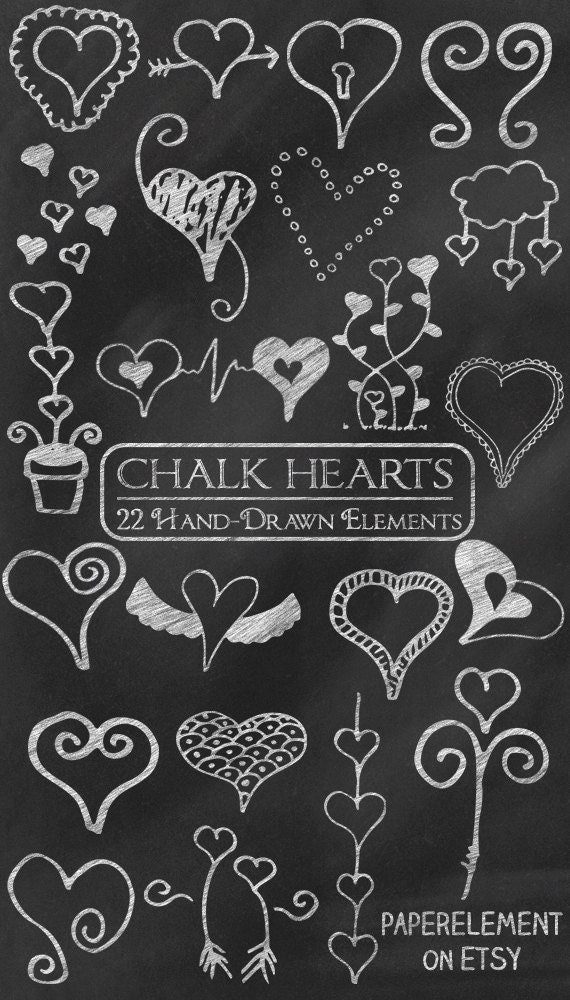 Digital Chalk Clipart: Chalk Clip Art Chalk Heart Doodles