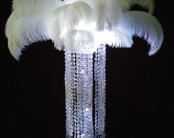 Glamorous Cylinder Crystal Chandelier Large Ostrich Centerpiece Wedding & Special Occasion Centerpiece