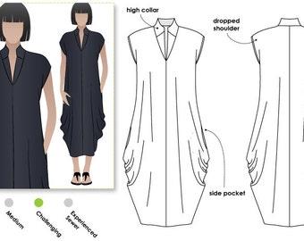 Toni Designer Dress - Sizes 18, 20, 22 - Side-drape Dress PDF Dress Pattern by Style Arc - Instant Download - Sewing Project