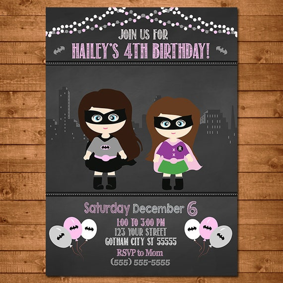 Batgirl Robin Superhero Invitation Chalkboard Theme Girl Superheros -- Batgirl Invite -- Batman Birthday -- Batman Party Favors
