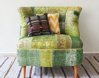 Green Armless Patchwork Chair Covered with Overdyed Vintage Rug, Pistachio Green and Cucumber Green, Wooden Furniture/CUSTOM MADE