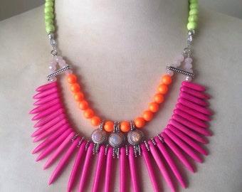 Neon Turquoise Swarovski Spike Statement Necklace - Linda Natalie Jewellery