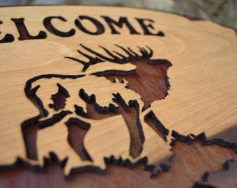 Elk Welcome Wood Sign