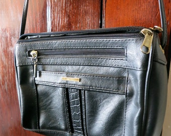 Black Faux Leather Vintage Handbag, Purse with Adjustable Strap