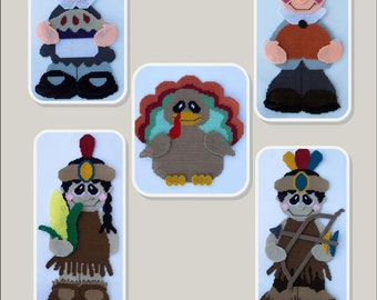 Thanksgiving Characters Wall Hangings-Plastic Canvas Book-PDF Download-Indian, Pilgrim, Turkey Patterns