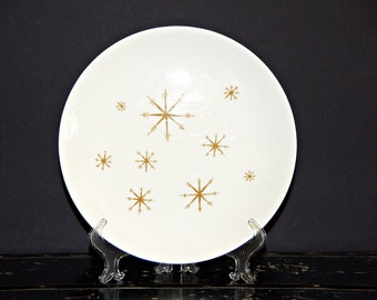 Star Glow, Dinner Plate, Royal China, Made in USA, Gold Starburst, Atomic Age, Midcentury Modern, Mad Style, Space Age, Ironstone, Ovenproof
