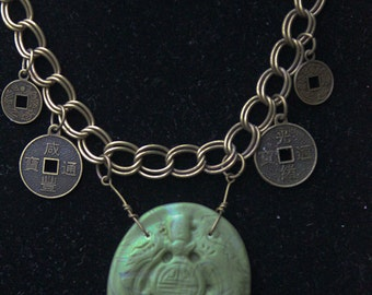 Bat of good fortune necklace in polymer clay with chinese coins