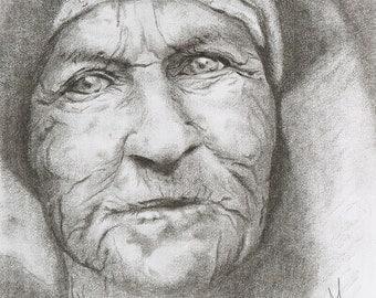 Portrait, Charcoal Drawing, Art, Realism, Classic Art, Original Art, Portrait Drawing, 3D Art, Black and White, Art Print.
