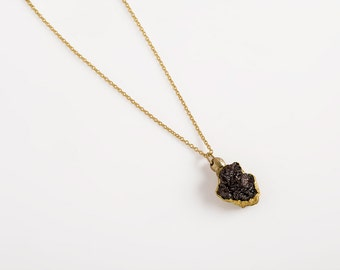 Raw diamond necklace, rough diamond jewelry, black diamond pendant, uncut black diamond necklace