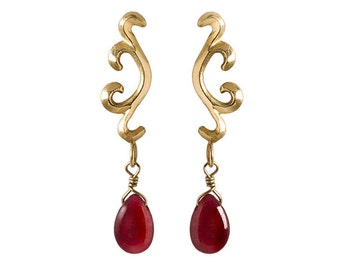 Genuine gold ruby earrings, real gold earrings, Fine jewelry, July birthstone earrings, Ruby gemstone jewelry