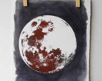 Full Moon screenprint and watercolor | Rust, black, two-tone | vintage inspired