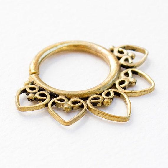 Tribal Septum Ring for pierced nose. septum piercing.septum jewelry. brass septum ring. tribal septum ring. 16g septum ring. septum ring 16g