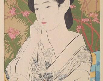 "Japanese Ukiyoe, Shin-hanga, Woodblock print, antique, Hashiguchi Goyo, ""Woman Standing Before a Blossoming Peach Tree"""