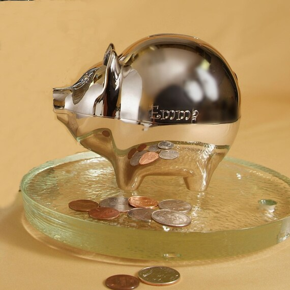 Engraved nickel plated piggy bank silver piggy by morganprinterco - Engraved silver piggy bank ...