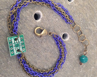Royal Blue & Antique Brass Stackable Multi Chain Bracelet with Tiny Reclaimed Upcycled Circuit Board Charm, Adjustable from 7 to 8 inches