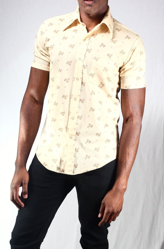 1950s vintage men 39 s kmart printed cream button up collar for Kmart button up shirts