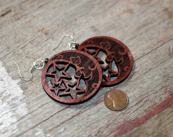 Light weight wood cut moon and stars jewelry