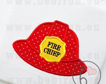 Fireman Helmet Hat Fire Chief Boys Applique Design Machine Embroidery Pattern Instant Download