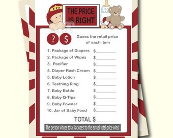 Fireman The Price Is Right Baby Shower Game  Firefighter Shower  Fire  Fighter Instant Download
