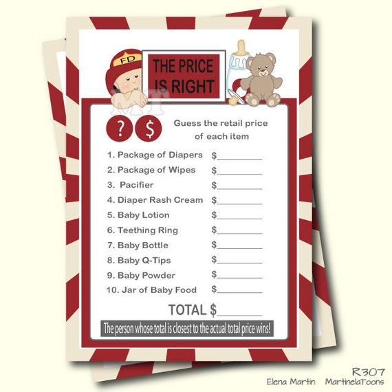 Fireman The Price Is Right Baby Shower Game  Firefighter Shower  Fire  Fighter Instant Download Printable. DIY Print Your Own.