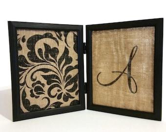 Burlap Jewelry Display, Jewelry Holder Frame, Black Floral Burlap with Monogram