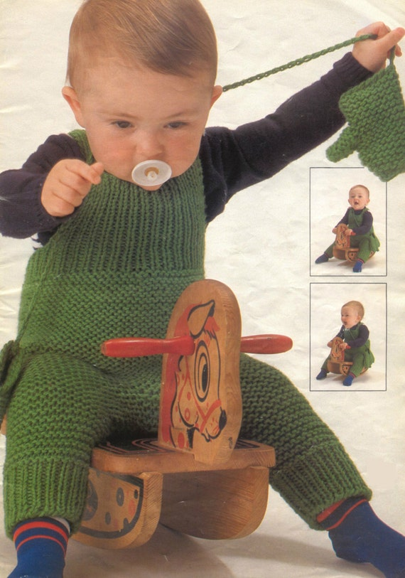 Vintage Knitting Pattern Knit Overalls coveralls suspenders