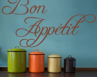 BON APPETIT | Wall sticker decal quote | Kitchen, gift, dining room home | vinyl wall words | 22 colour choices |  WQ27