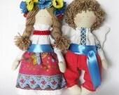 Textile dolls Loving couple angels in Ukrainian style, Ukrainian souvenir