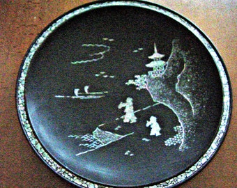 Vintage Chinese Black Lacquer Papier Mache Mother of Pearl Hanging Plate Bowl