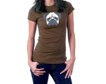 Pug Dog T-shirt. Cotton Cute Animal Pug Tee.