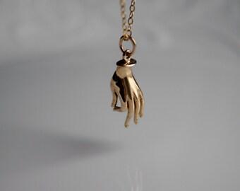 Mudra hand necklace, buddha mudra, Gyan Mudra natural bronze charm, 14k gold filled chain, yoga jewelry