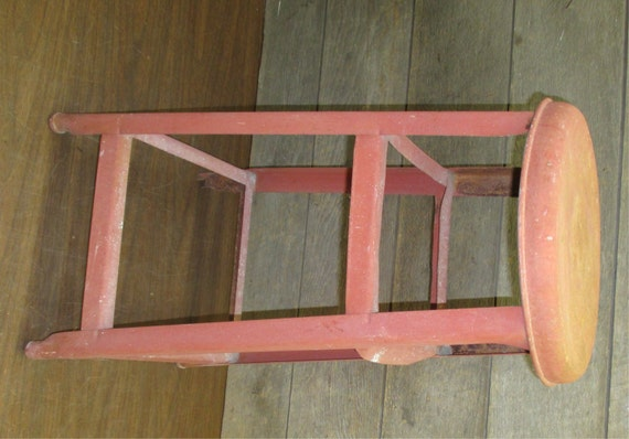 Red Metal Milking Stool Chair Kitchen Industrial Age Workbench