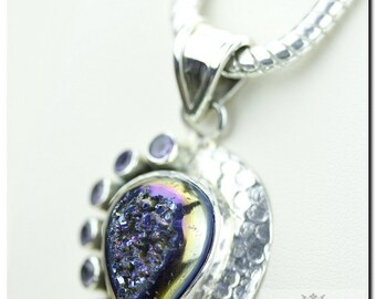Hammered finish Titanium Drusy DRUZY 925 SOLID Sterling Silver Pendant + 4mm Snake Chain & FREE Worldwide Shipping