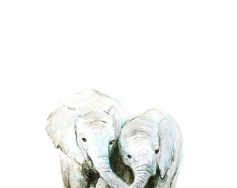 Elephant Watercolor PRINT - Baby Animal Art - Baby Elephant Painting - Safari Animal - Baby Room Wall Art - Nursery Décor - Baby Shower Gift